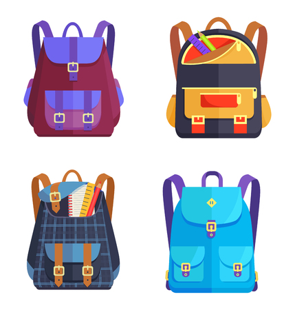 Set of rucksacks for girls and boys of different colors with zippers and fasteners, fashionable models with handles and pockets, vector illustrations