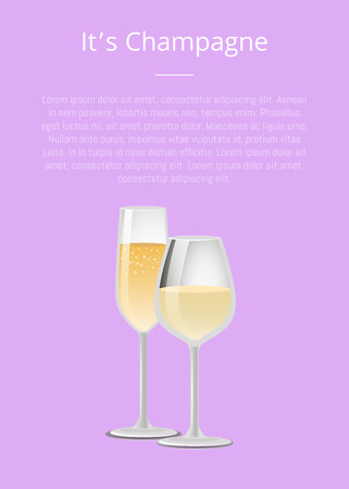 Its champagne advertisement poster with closeup of wine glass, alcohol drink with bubbles vector illustration isolated on purple background Standard-Bild - 105603667