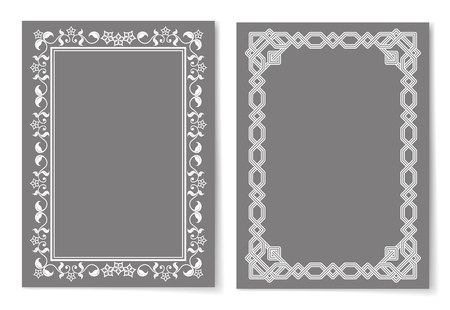 Collection of frames silver color isolated on grey. Retro style vintage borders set with ornamental graphic decorative elements vector illustration Illustration