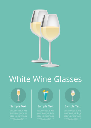 White wine glassesbanner with list alcohol drinks in circles, refreshing glassware of champagne, blue cocktail and winery items vector design poster