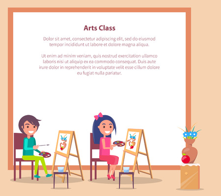 Art class banner with place for text and students drawing sketch of vase on wooden easels vector illustration of learning process 일러스트