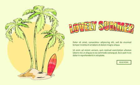 Lovely summer web banner vector illustration of small island with palm trees and surfboard against background with sunset or sunrise  イラスト・ベクター素材
