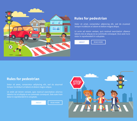 Rules for pedestrians set of banners with inscription. Vector illustration of smiling boys and girl crossing road against blue background
