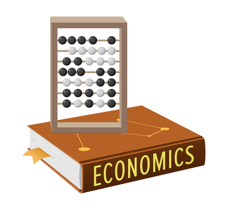 Economics book and abacus with grey wooden frame and movable black-and-white beads isolated vector, accounting and marketing concepts