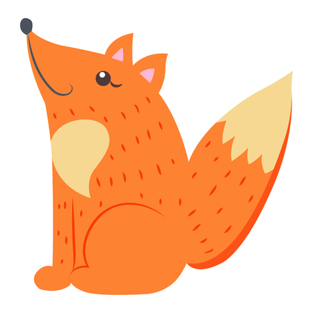Cute funny red, bushy-tailed fox vector flat cartoon sticker isolated on white. Wild predatory animal illustration for game counters 일러스트