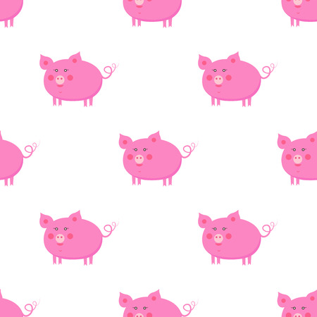 Cute pigs seamless pattern. Funny pink piggy with swirling tail flat vector on white. Domestic, farm animal or pet cartoon illustration for prints on fabric, wrapping parer, web backgrounds  イラスト・ベクター素材