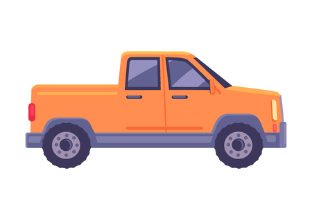 Orange pickup car icon. Compact truck suv flat vector isolated on white background. Passenger vehicle with cargo body chassis illustration Çizim