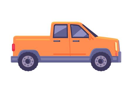Oranje pick-up auto pictogram. Compacte vrachtwagen suv platte vector geïsoleerd op een witte achtergrond. Passagiersvoertuig met illustratie van het laadbakchassis