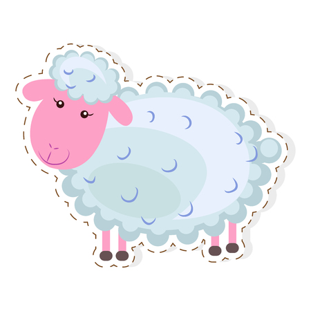 Funny cute curly lamb or sheep flat vector cartoon sticker outlined with dotted line isolated on white background. Domestic animal or pet illustration for game counters, price tags Illustration