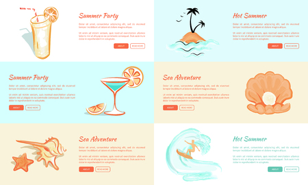Summer Party and Adventure Vector Web Banner.
