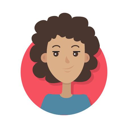 Vrouw gezicht emotionele pictogram. Leuke krullende glimlachende vrouwelijke karakter platte vectorillustratie geïsoleerd op wit. Gelukkig menselijk psychologisch portret. Positieve emoties gebruikersavatar. Voor app, webdesign Vector Illustratie