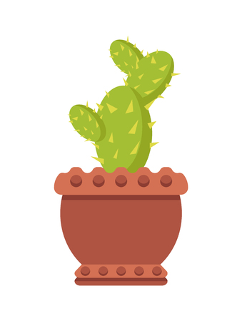 Cactus in clay pot indoor flowerpot with sharp spikes. Exotic evergreen plant from desert. House herbal in big pot isolated cartoon vector illustration Illustration