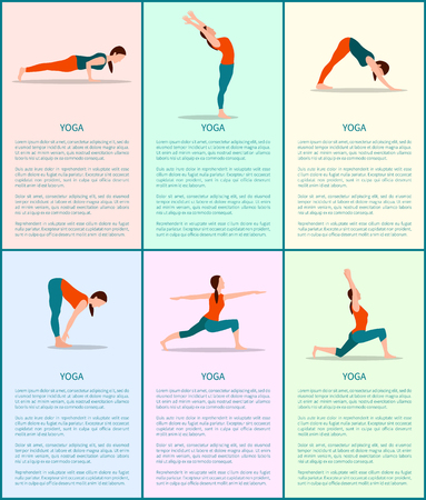 Yoga colorful vector poster poses set, sporty girl, illustration with text sample, warrior and forward hold postures, back bend, downward dog, hobby