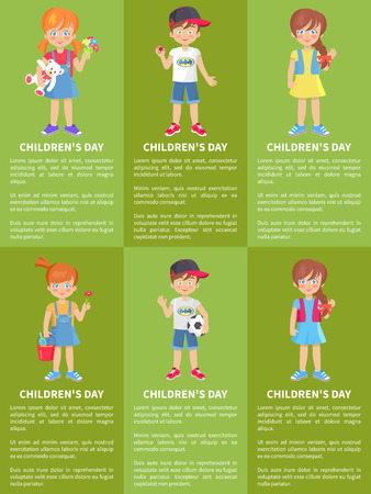 Childrens day set of web banners with playful boys and girls isolated on green. Happy schoolboy with spinner and girl with teddy bear and flowers vector