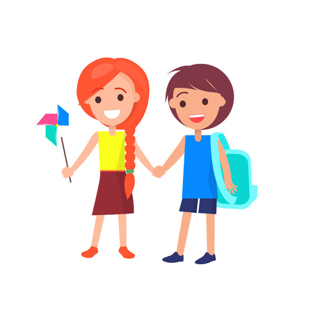 Boy with medium length brown hair and redhead girl with braid holding hands isolated vector illustration on white. Happy students during break Ilustração