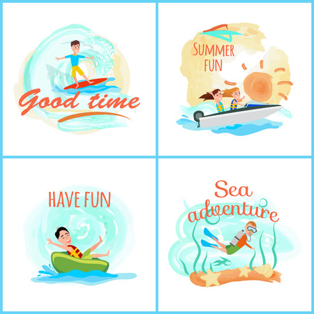 Summertime, collection of posters with headlines, summer activities set boating and surfing, vector illustration, isolated on white