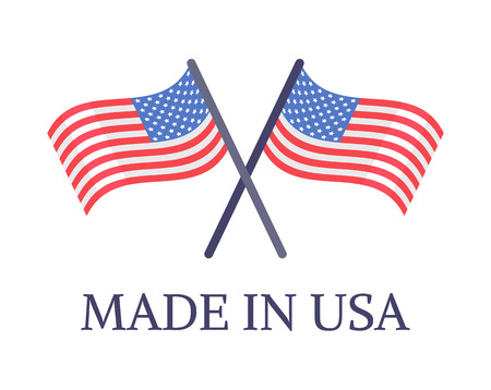 Made in USA two crossed flags emblem with text, original american high quality products, warranty that goods manufactured America vector symbols
