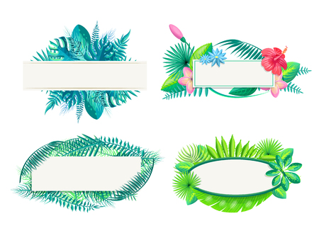 Frames collection with leaves, set of borders flowers and foliage, monstera and hibiscus, plumeria vector illustration isolated on white background Stock Illustratie