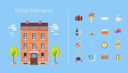 Hotel elements building with trees and clouds, icons of baggage and flower, bath and coffee, wine and keys, clock and bed vector illustration