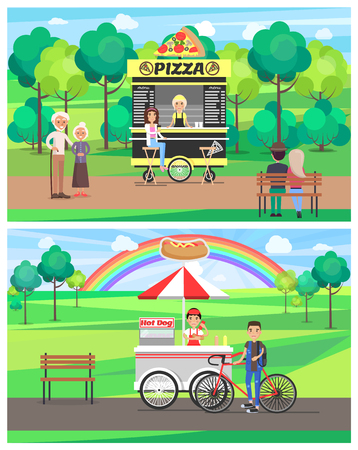 Street food in bright summer park vector banner, green trees grass, pizza and hot-dog snacks cheerful people on rest, menu list colorful rainbow Illustration