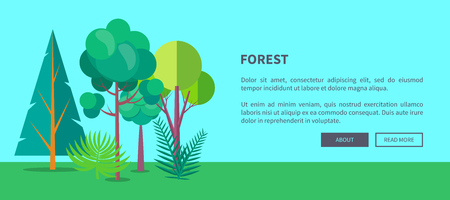 Forest banner with green different trees and bushes, deforestation concept. Environmentally safe nature with plants and foliage on green lawn Ilustração