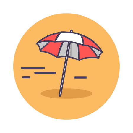 Circle icon depicting sandy beach. Vector illustration of red-and-white sun umbrella lying on scorching sand and casting small shadow