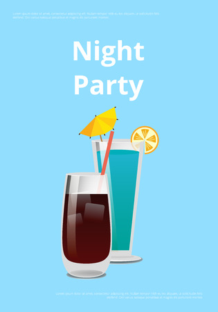 Night party drinks promo poster with cocktail made of vodka and cola and blue lagoon with lemon vector illustration on blue background place for text