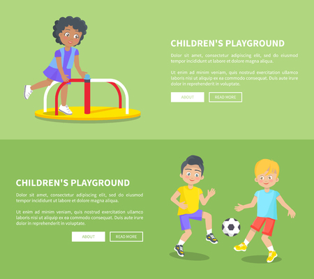 Childrens playground set of posters with text, kid rotate on carousel, boys playing football vector illustrations isolated on green background