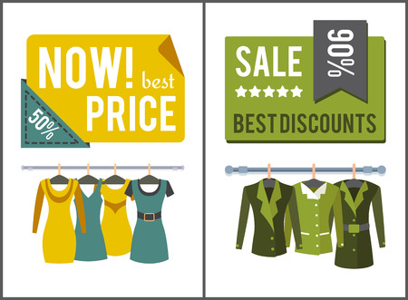 Sale and best discounts for female clothes posters set. Convenient low price spring womens clothing promo. Huge low cost commercial vector illustration Foto de archivo - 104926362
