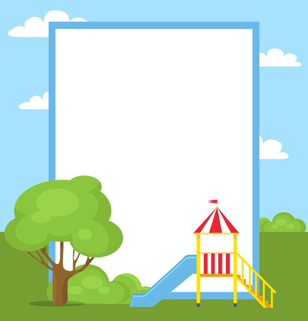 Large blue slide for children with yellow ladder and little balcony with crown and flag vector illustration with place for text in white frame