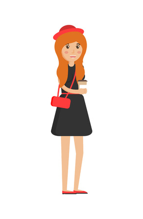 Girl holding plastic cup with hot coffee, female wearing black dress, modest lady hold bag and hat, vector illustration isolated on white background Çizim