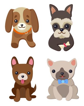 Collezione di cani e cuccioli, poster con animali domestici, di razze diverse, carlino e bassotto, labrador e chihuahua, cane bassotto su illustrazione vettoriale