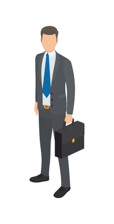 Successful man with suitcase dressed in black official suit. Vector illustration of icon of business person isolated on white background