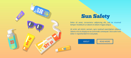 Sun safety web banner with inscription depicting seaside. Vector illustration of sunglasses and various spf sunscreen lotions lying on beach Illustration