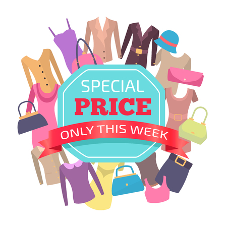 Special price for all clothes only this week promo. Female clothing big sale emblem. Advert info about low cost commercial logotype vector illustration