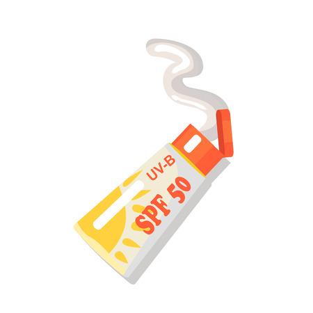 Crema SPF isolata per il relax estivo in spiaggia. Illustrazione variopinta di vettore nel design piatto del tubo aperto con cosmetici per la protezione solare Vettoriali