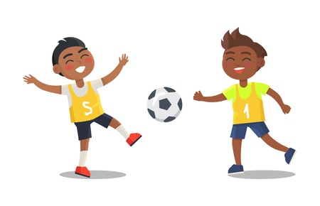 Indian boys playing football in sport uniform isolated on white background. Vector illustration of smiling guys with ball, active way of life Illustration