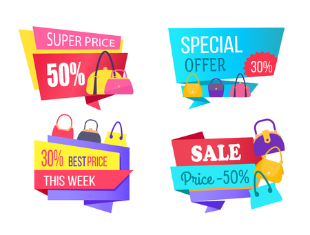 Super choice special offer best cost this week sale labels half price discount, advertisement emblems with bags, women leather accessories on stickers