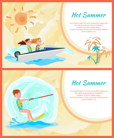 Hot summer abstract card vector illustration text sample, kitesurfing sport and boating, motor vessel sun and marine water, happy active people Illustration