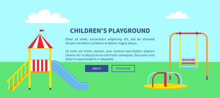 Childrens Playground Web Banner with Slide Vector