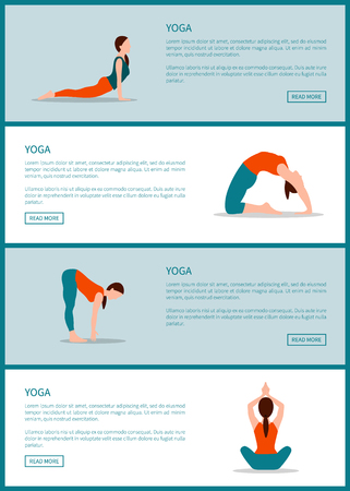 Yoga Internet Pages Collection Vector Illustration Stok Fotoğraf