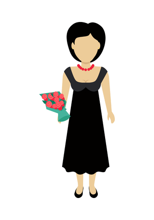 Female character without face with bouquet in black dress vector. Flat design. Woman template personage illustration for ceremonial concepts, fashion app, logos, infographic. Isolated on white back.