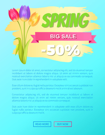 Best discount 50 off advertisement sticker colorful bouquet with three tulips vector illustration spring collection sale web page promo banner Illustration