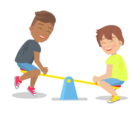 Two boys play on up-and-down carousel for children actually for two persons with seats isolated on white background. Kids have fun on playground Illustration