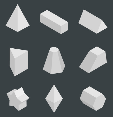 Isolated prisms, bright geometric figures set vector illustration with tetrahedron cuboid, pentagrammic pentagonal triangular prism and octahedron Vecteurs