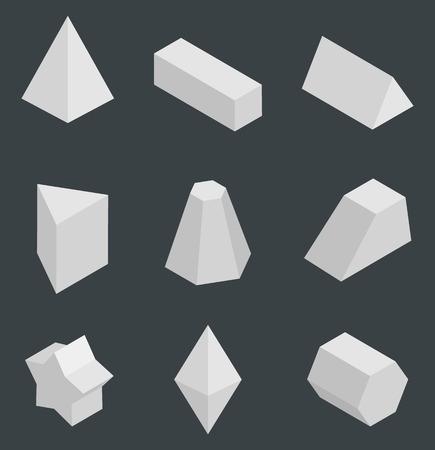 Prismi isolati, figure geometriche luminose impostare illustrazione vettoriale con tetraedro cuboide, prisma triangolare pentagonale pentagrammico e ottaedro Vettoriali