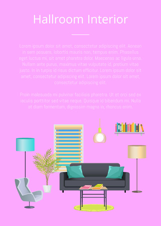 Hallroom interior banner, vector illustration, text isolated on pink backdrop, cozy couch with pillows, comfortable chair, lamps elements Foto de archivo - 104926368
