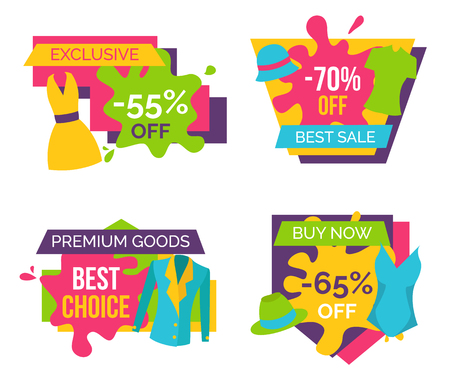 Exclusive 55 off 70 sale premium goods best choice buy now 65 percent set of advertisement labels clothing apparels dress, t-shirts and jacket vector