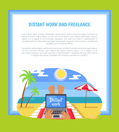 Distant Work and Freelance Poster Freelancer legs, person lying on tropical beach with notebook on knees, umbrella and coastline in front of him, vector