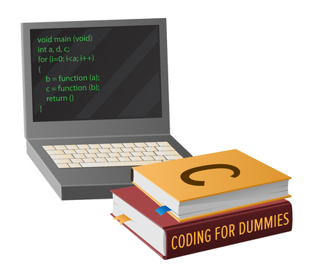 Open laptop with program code on screen and pile of textbooks on informatics isolated cartoon vector illustration on white background. Illustration